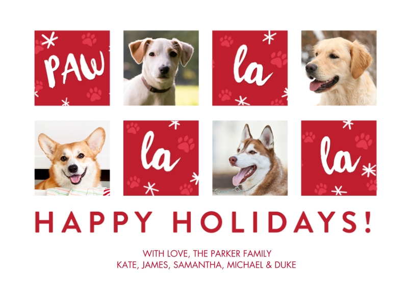 Christmas Photo Cards 5x7 Cards, Premium Cardstock 120lb with Scalloped Corners, Card & Stationery -Christmas Pet Fa La La by Tumbalina
