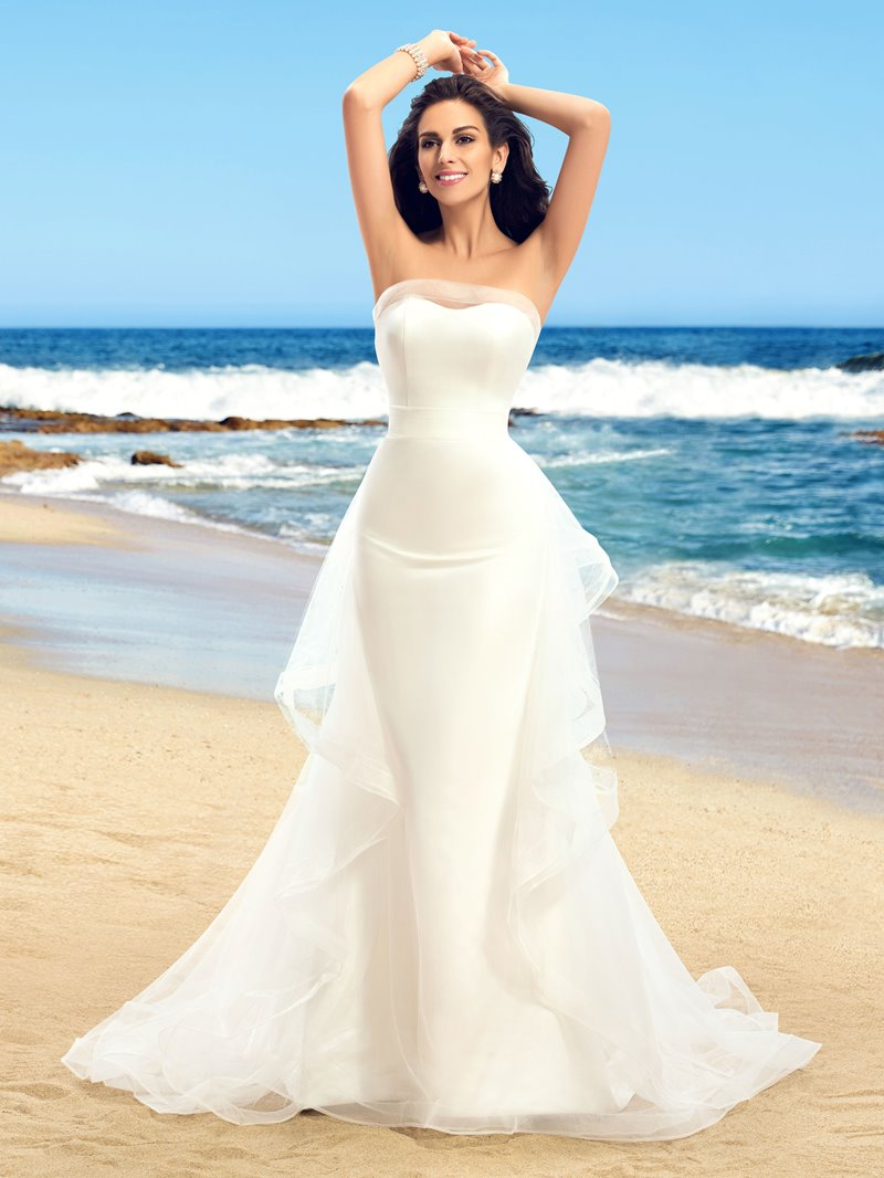 Ericdress Strapless Ruffles Mermaid Outdoor Wedding Dress