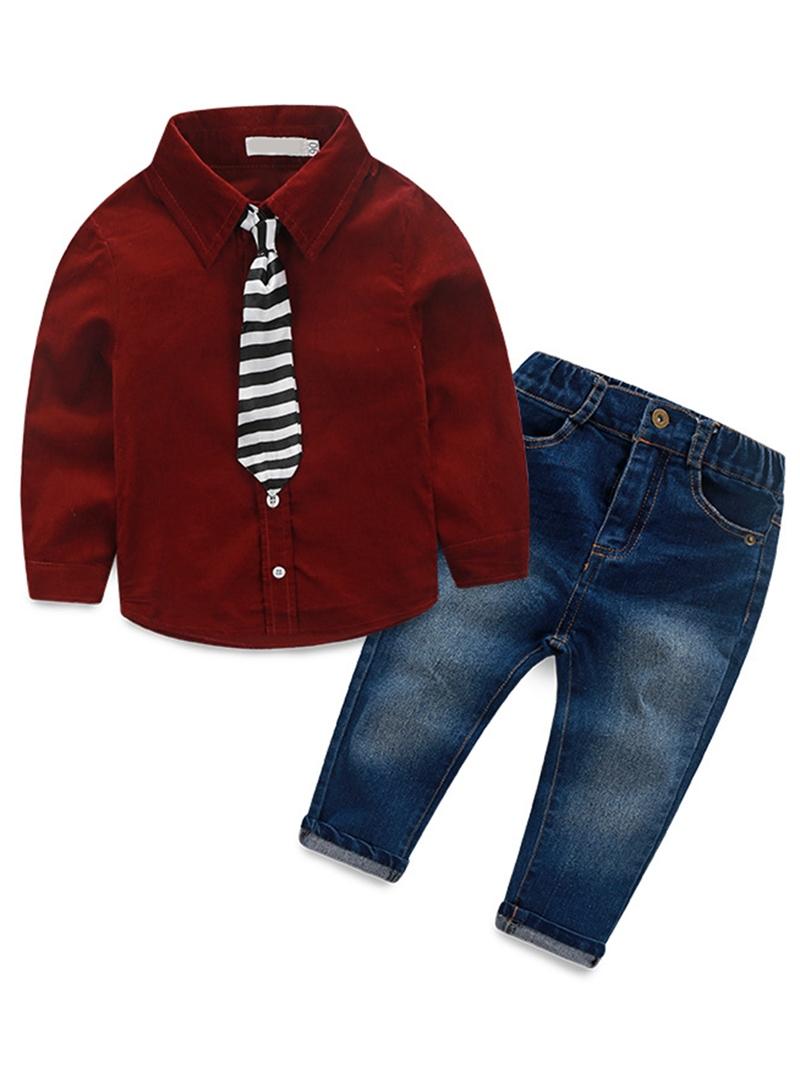 Ericdress 2 Color Plain Long Sleeve Shirt Jeans Boys Outfit