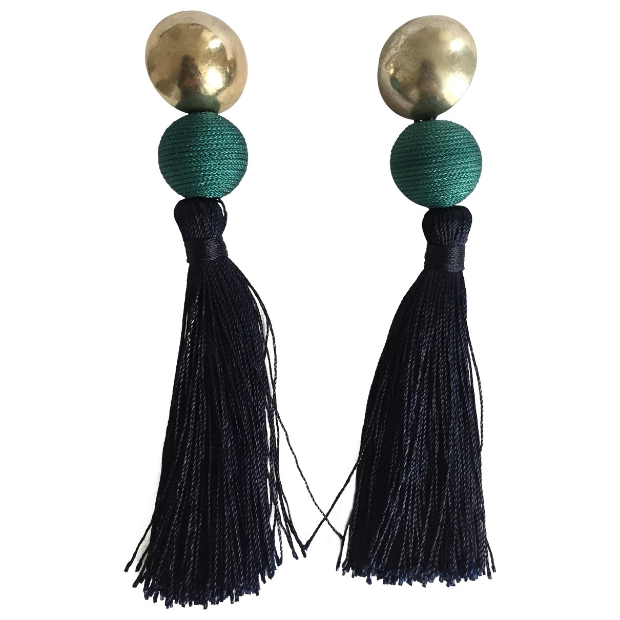 Non Signé / Unsigned Motifs Ethniques Blue Cloth Earrings for Women \N