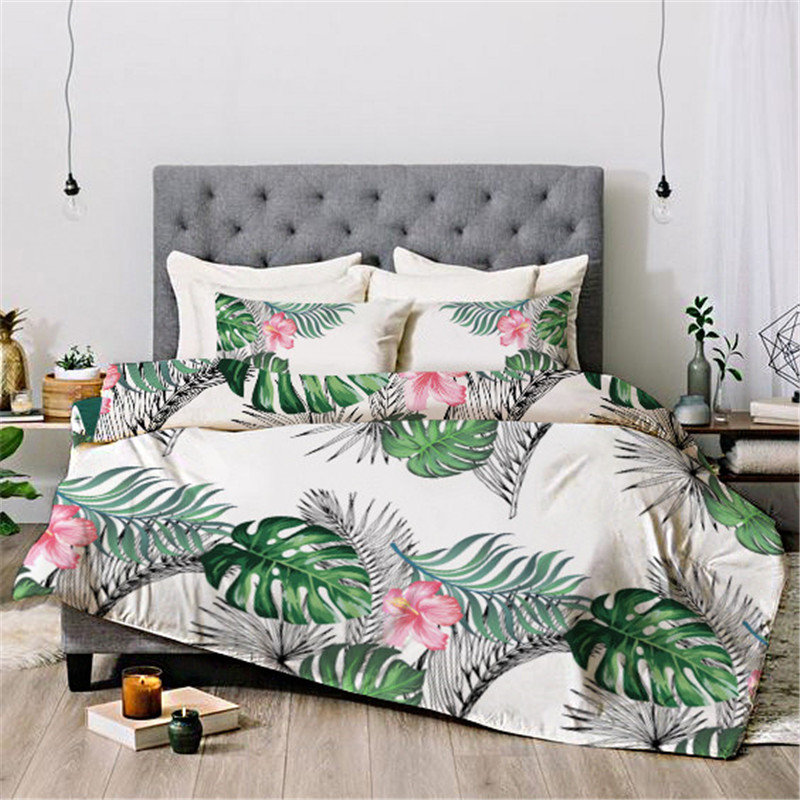 Leaves And Flowers Floral Reactive Printing Duvet Cover Set Four-Piece Set Hand Wash Tencel Cotton Bedding Sets
