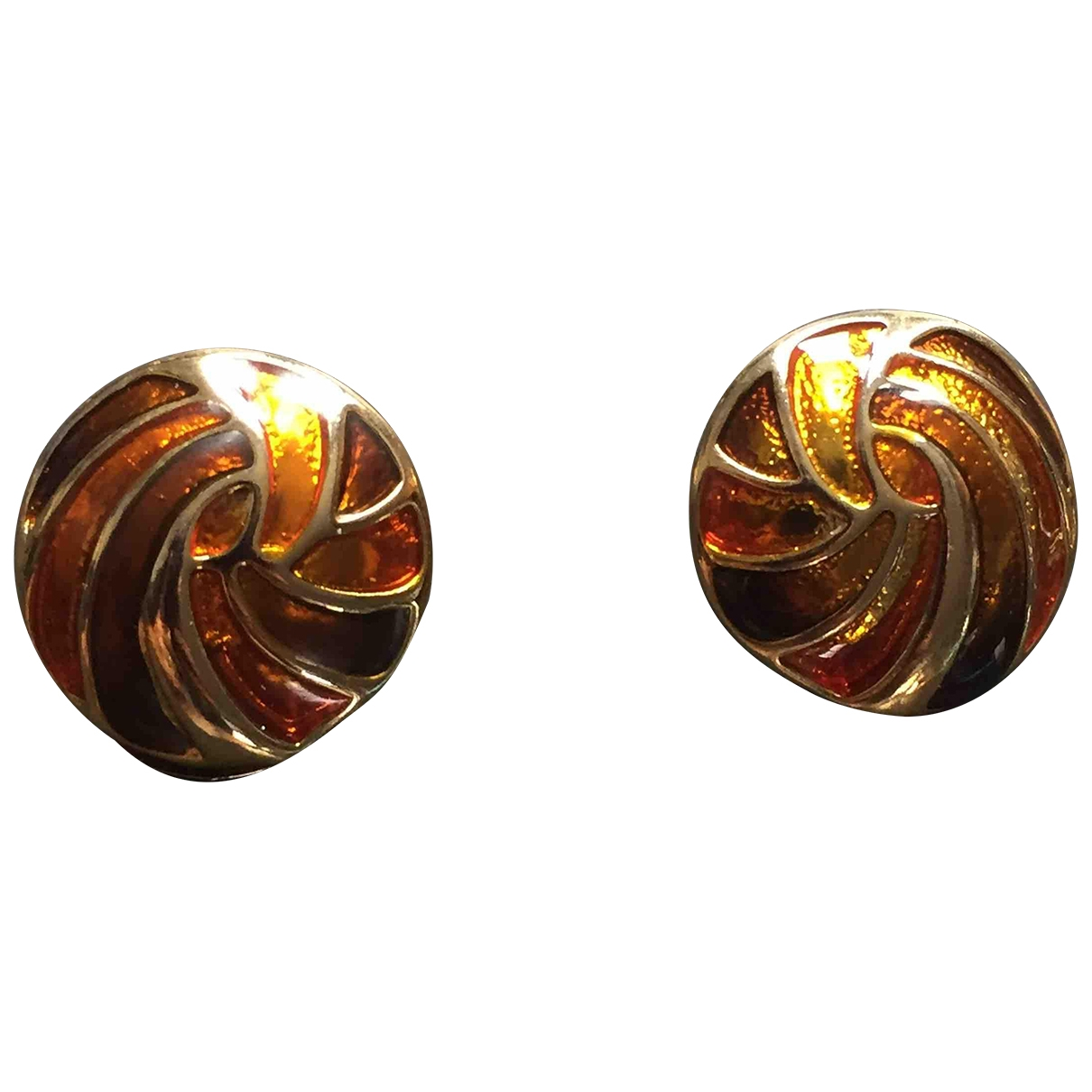 Non Sign?? / Unsigned \N Brown Metal Earrings for Women \N