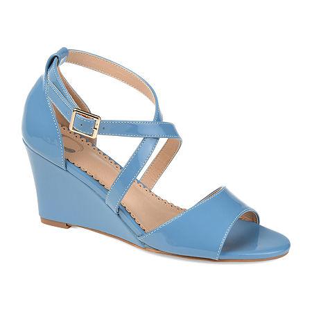 Journee Collection Womens Stacey Pumps Wedge Heel, 8 1/2 Medium, Blue
