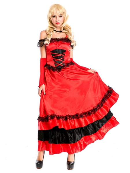 Milanoo Flamenco Girls Red Dancer Outfit Adults Spanish Ballroom Dress Off Shoulder Paso Doble Costumes Halloween