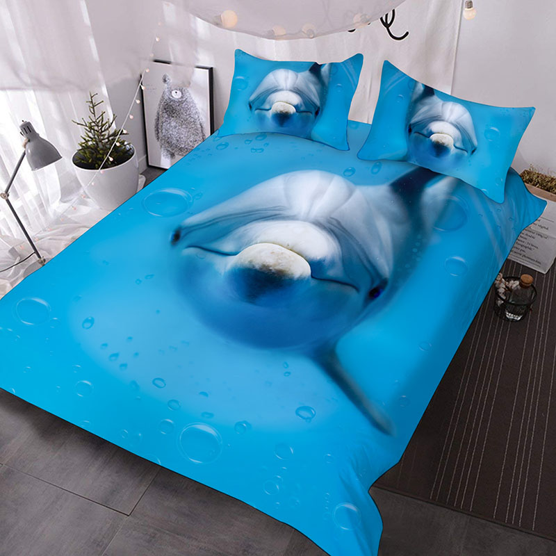 A Dolphin Swimming In The Blue Ocean 3D Printed 3-Piece Polyester Comforter Sets