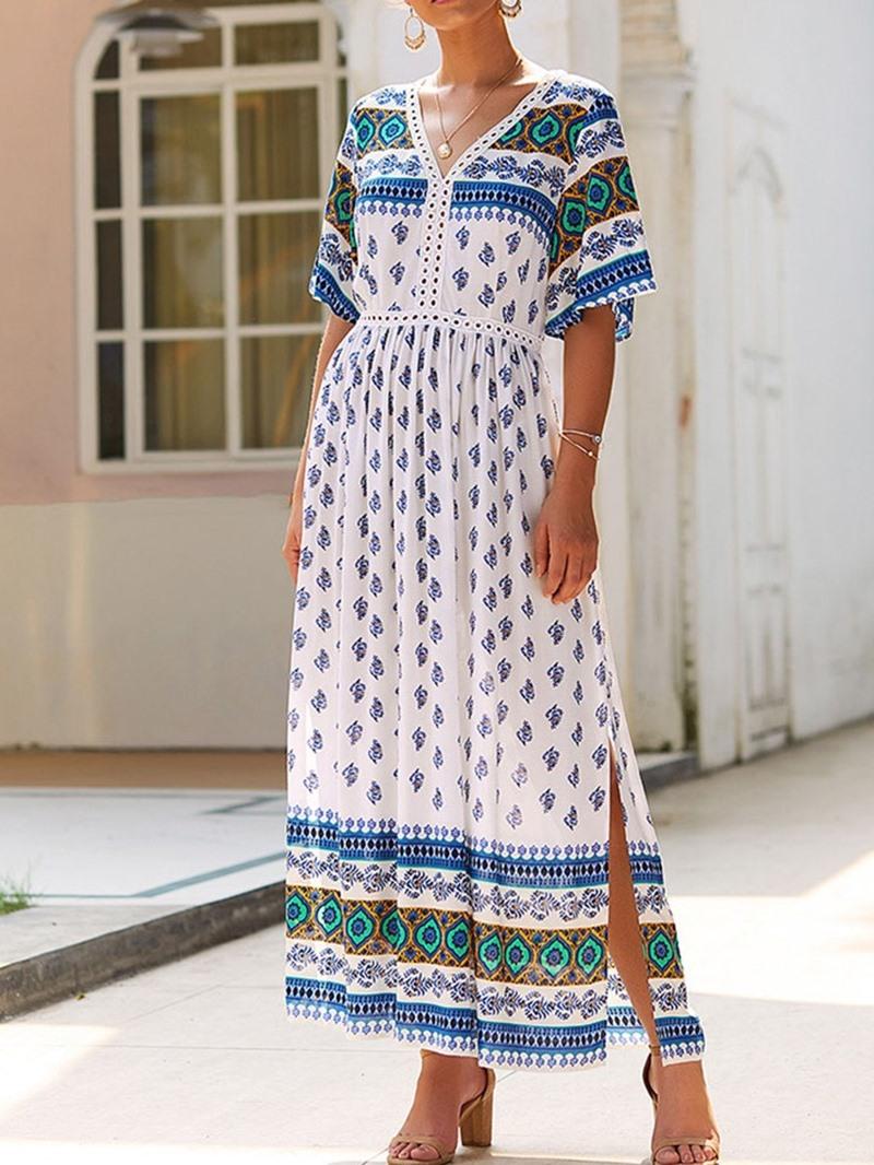 Ericdress Print Half Sleeve V-Neck Ankle-Length Summer Mid Waist Dress
