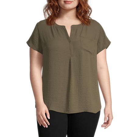 Liz Claiborne Cap Sleeve Popover - Plus, 3x , Green