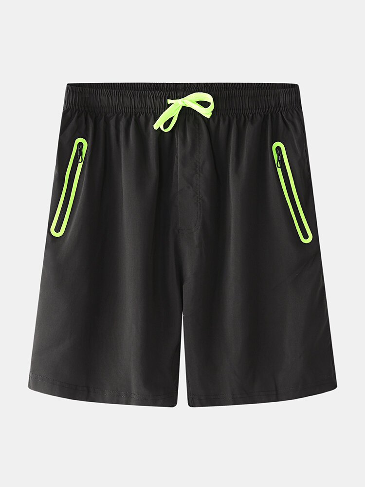 Mens Breathable Quick-Dry Contrast Color Zippered Pockets Sport Short