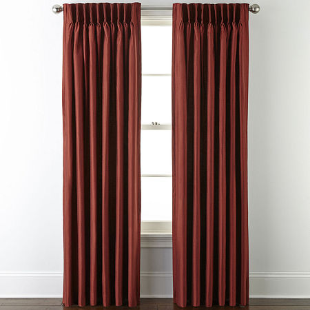 JCPenney Home Supreme Energy Saving Light-Filtering Pinch-Pleat Single Curtain Panel, One Size , Red