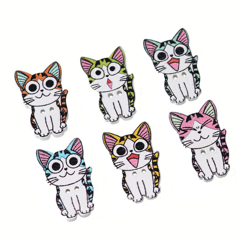 50 Pcs Cat Wooden Buttons 2 Hole Natural Print Craft Wood Sewing kitty Button Making Clothing
