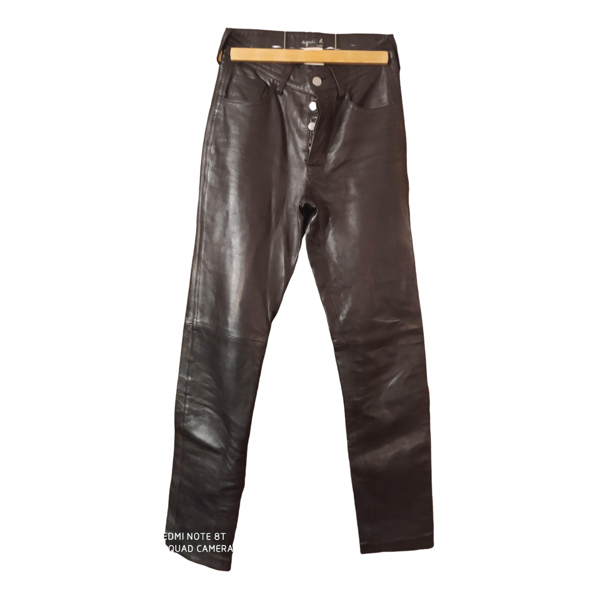 Agnès B. \N Black Leather Trousers for Women 36 FR