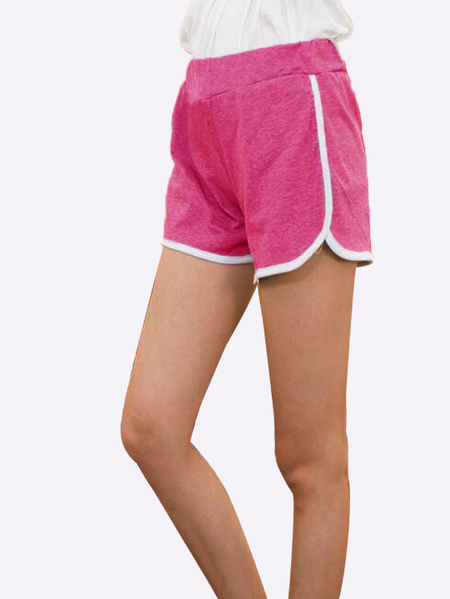 Yoins Elastic Mid-waist Sports Shorts in Rose