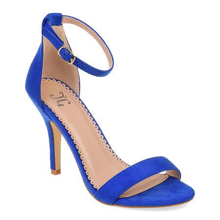 Journee Collection Womens Polly Pumps Buckle Open Toe Stiletto Heel, 6 1/2 Medium, Blue