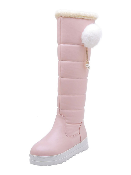 Milanoo Sweet Lolita Boots PU Leather Pom Pom Pearl Round Toe Pink Lolita Snow Boot
