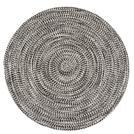 Colonial Mills Biscayne Tweed Braided Round Reversible Indoor/Outdoor Rugs, One Size , Black