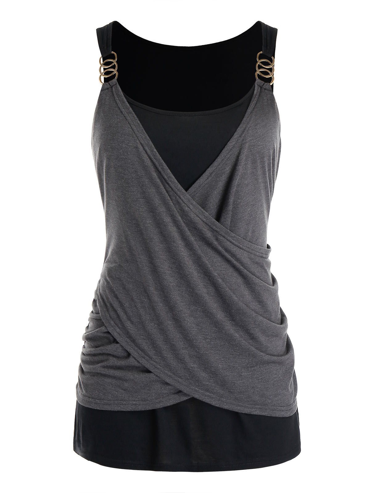 Plus Size Draped Crossover Tank Top