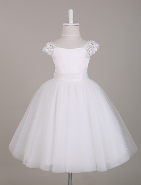 Milanoo Flower Girl Dress Ivory Lace Cap Sleeves Tutu Dress Bateau Knee Length Short Kids Party Dresses