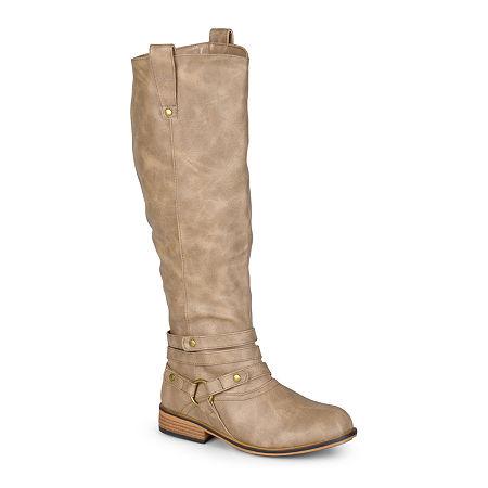 Journee Collection Womens Walla Riding Boots, 10 Medium, Beige