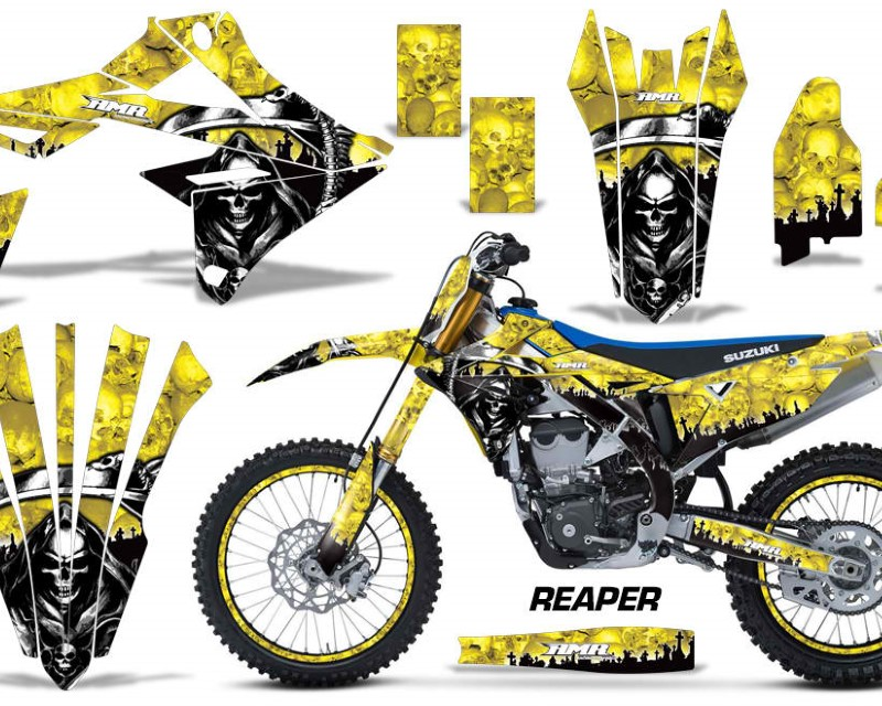 AMR Racing Graphics MX-NP-SUZ-RMZ450-2018+-RP Y Kit Decal Sticker Wrap + # Plates For Suzuki RMZ450 2018+áREAPER YELLOW