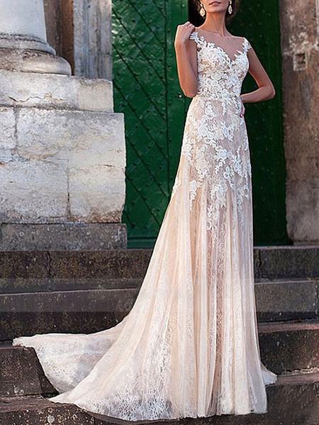 Milanoo Wedding Dress Sheath V Neck Sleeveless Floor Length Lace Tulle Backless Bridal Gown With Train