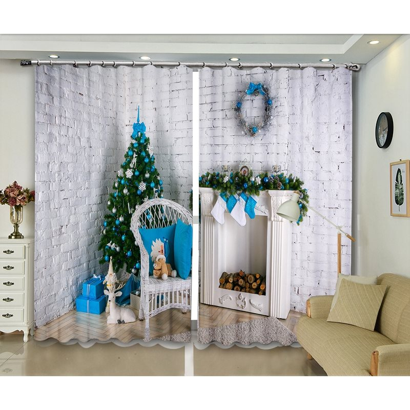 Nordic Style Christmas Decorative Blackout Festival Celebration Curtains Backdrop