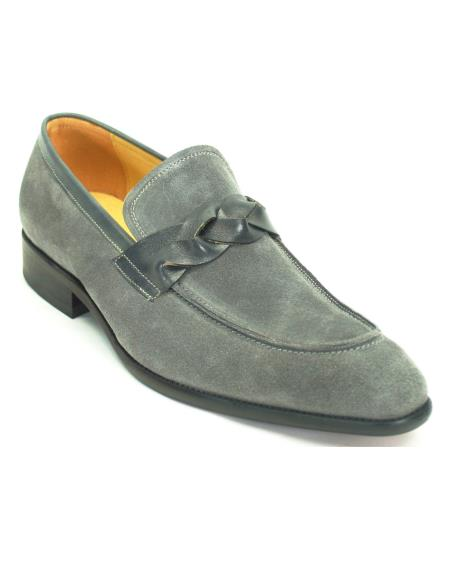 Men's Slip On Suede With Leather Trim Loafer Shoes Grey
