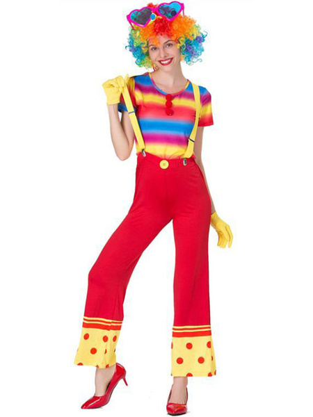 Milanoo Carnival Circus Costume Red Women Pants Gloves Set Polyester Clown Holidays Costumes Halloween