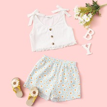 Girls Tie Shoulder Tank Top and Daisy Shorts Set