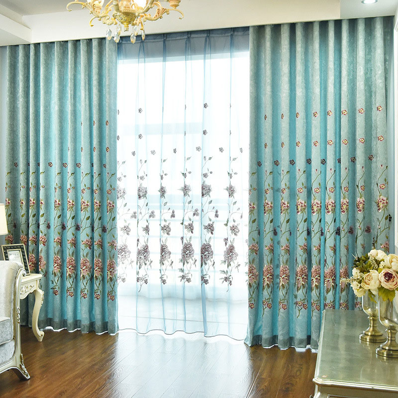 Elegant Peony Embroidery Decoration Shading Curtains for Living Room Custom 2 Panels Drapes No Pilling No Fading No off-lining
