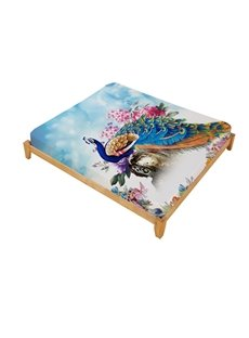 3D Animal Design Colorful Peacock & Flower Reactive Printed Cotton Fitted Sheet