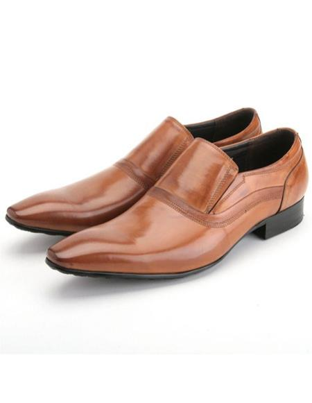 Mens stylish rusty calfskin genuine leather slip-on zota shoes