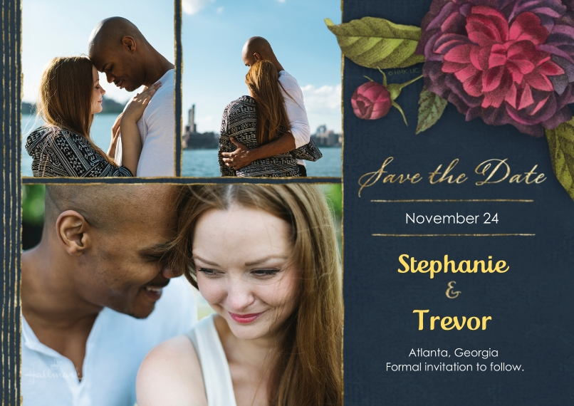 Save the Date 5x7 Cards, Premium Cardstock 120lb, Card & Stationery -Dramatic Floral Save the Date
