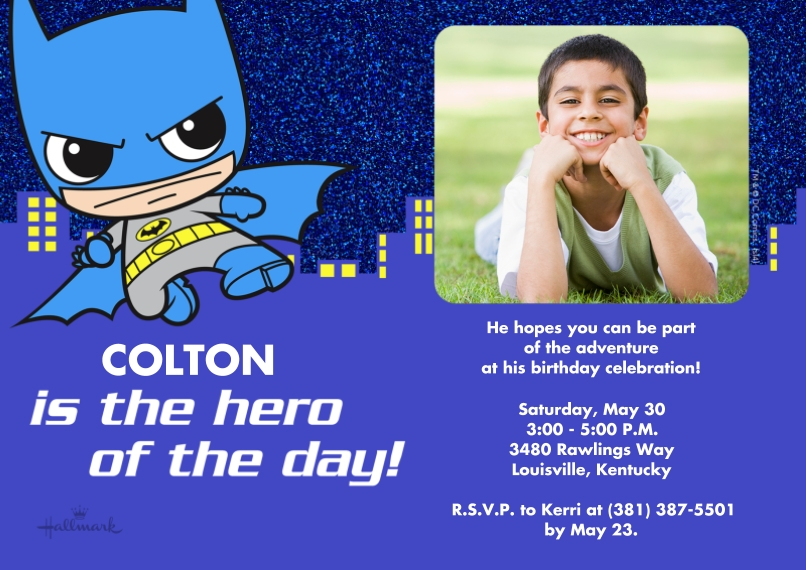 Kids Birthday Party Invites 5x7 Cards, Premium Cardstock 120lb with Rounded Corners, Card & Stationery -Hero of the Day Batman