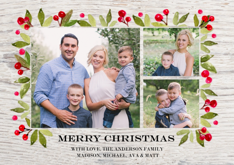 Christmas Photo Cards 5x7 Cards, Premium Cardstock 120lb with Rounded Corners, Card & Stationery -Christmas Rustic Floral