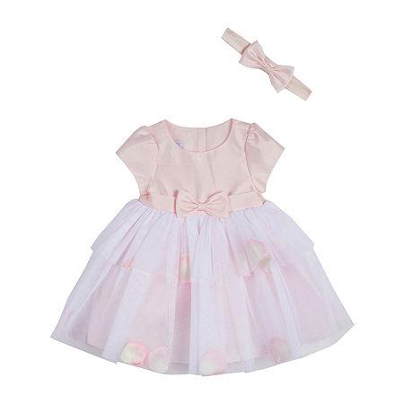 Marmellata Baby Girls Short Sleeve A-Line Dress, 24 Months , Pink