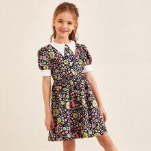 Girls Contrast Collar Puff Sleeve Floral Dress