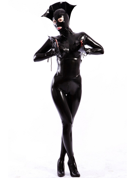 Milanoo Halloween Sexy Black Women's Latex Catsuit Halloween