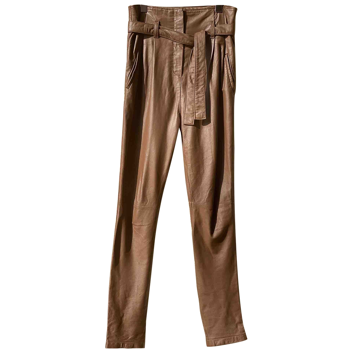 Bel Air \N Camel Leather Trousers for Women 34 FR