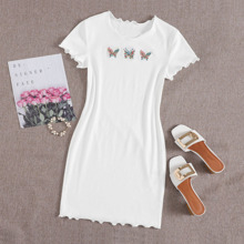 Butterfly Embroidered Lettuce Edge Rib-knit Bodycon Dress