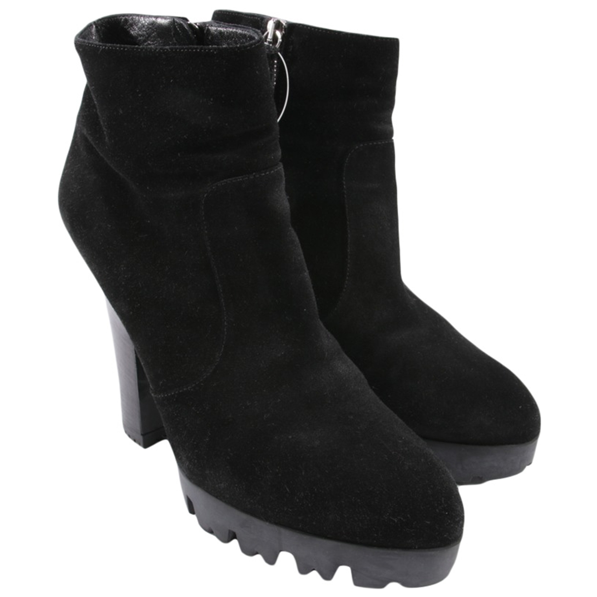 Miu Miu \N Black Leather Ankle boots for Women 39.5 EU