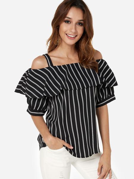 Yoins Black Flared design Stripe Cold Shoulder Half Sleeves Blouse