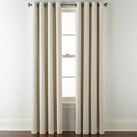 JCPenney Home Sullivan Blackout Grommet-Top Single Curtain Panel, One Size , Beige