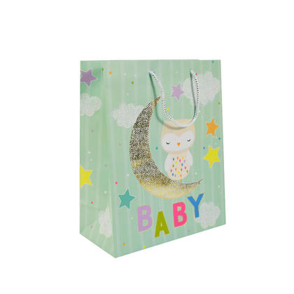 Gift Bag Present Bag Baby Moon Matte Large Size 12.75*10.25*5in, 1Pc