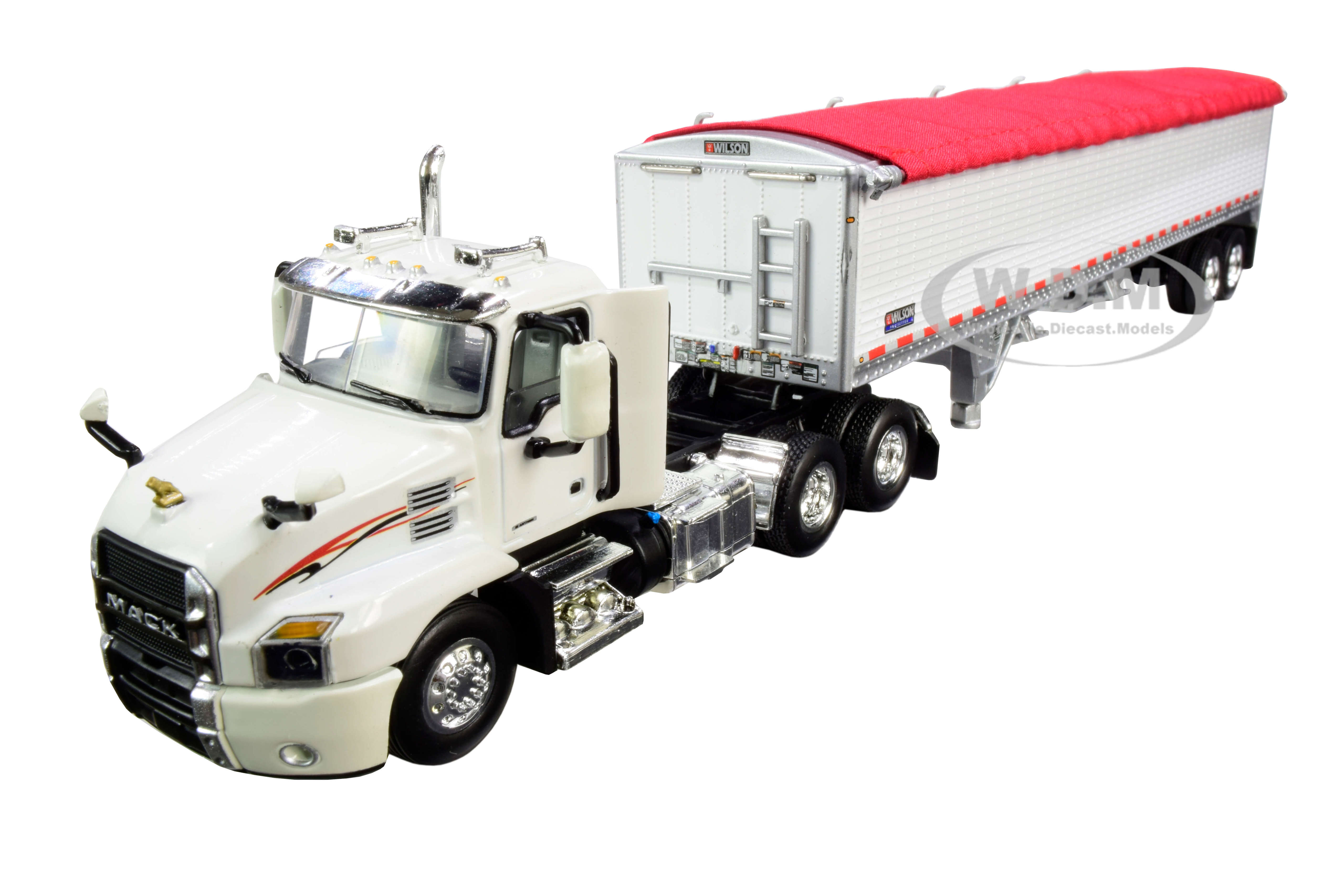 Mack Anthem Day Cab with Wilson PaceSetter High-Sided Tandem-Axle Grain Trailer White 1/64 Diecast Model by DCP/First Gear