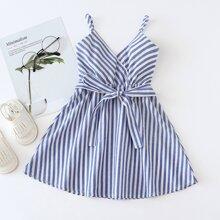 Toddler Girls Striped Surplice Self Tie Flowy Cami Dress