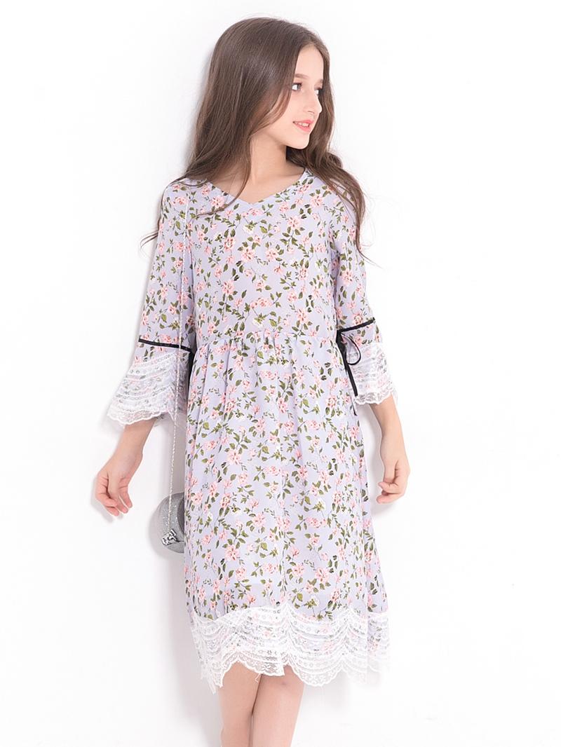 Ericdress Sweet Floral Mesh Hollow Hem Bell Sleeves Girl's Dress