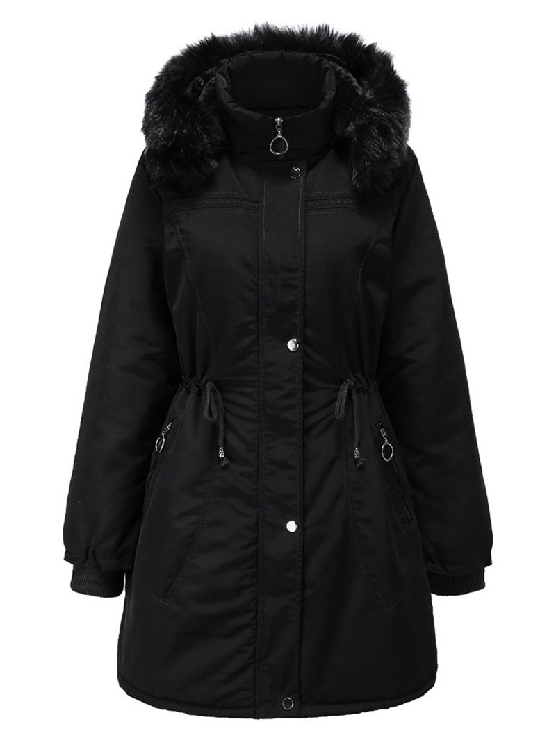 Ericdress Zipper Patchwork A Line Mid-Length Cotton Padded Jacket