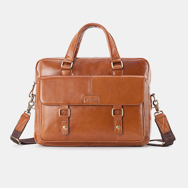 Men Business Genuine Leather Crossbody Bag