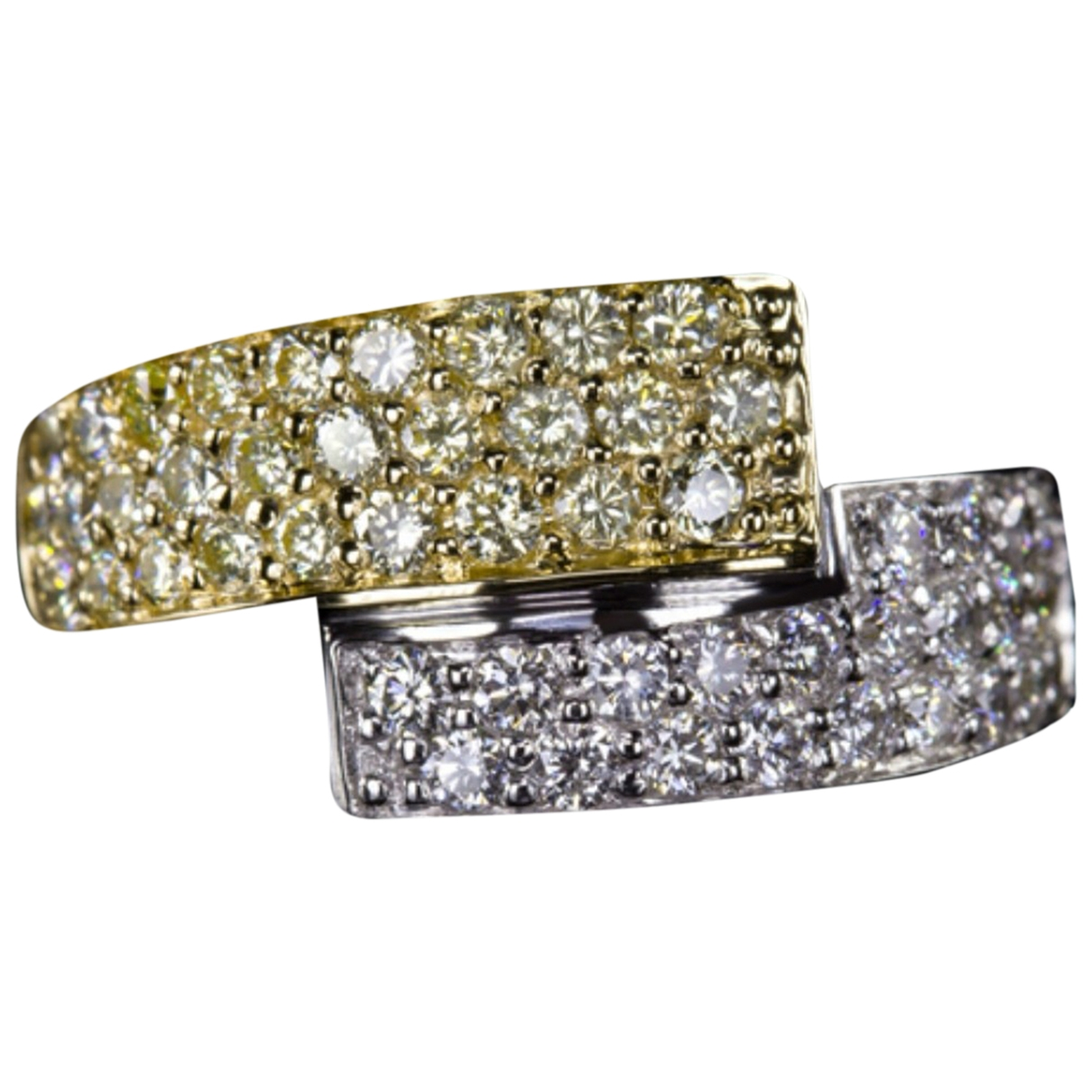 Non Signé / Unsigned Toi & Moi Multicolour White gold ring for Women 55 MM