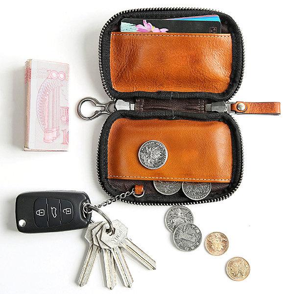 Genuine Leather Card Holder Coin Bag Key Bag Solid Car Key Case For Men